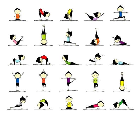 看图做动作,可爱的卡通人物教你如何做瑜伽.
